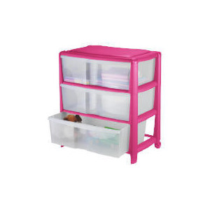 Photo of Tesco Wide 3 Drawer Cart Pink Household Storage