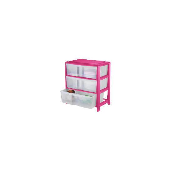 Tesco wide 3 drawer cart pink