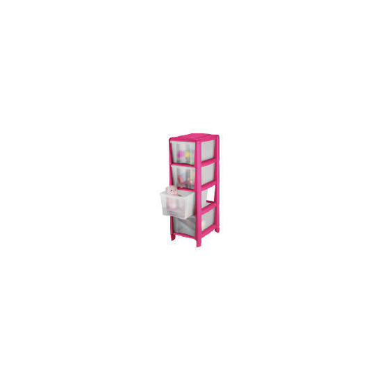 Tesco slim 4 drawer cart pink