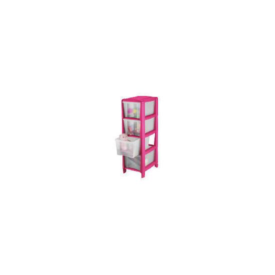 Tesco slim 4 drawer cart pink