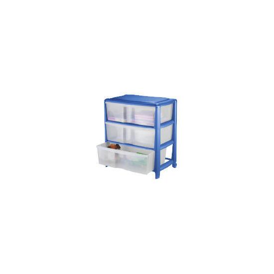 Tesco wide 3 drawer cart blue