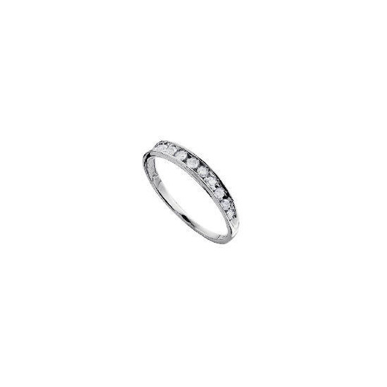 9ct White Gold 1/4 Carat Diamond Half Eternity Ring O