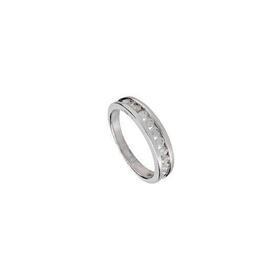 9ct White Gold 1/2 Carat Diamond Eternity Ring, P