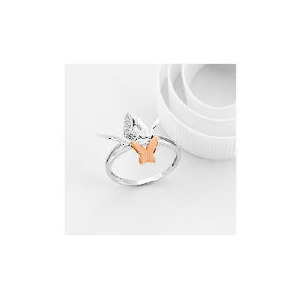 Photo of 9CT White and Rose Gold Diamond Butterfly Ring m Jewellery Woman