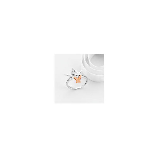 9ct White and Rose Gold Diamond Butterfly Ring M