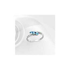 Photo of 9CT White Gold Blue Topaz and Diamond Ring L Jewellery Woman