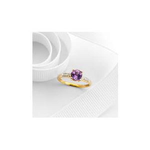 Photo of 9CT Gold Amethyst and Diamond Ring L Jewellery Woman