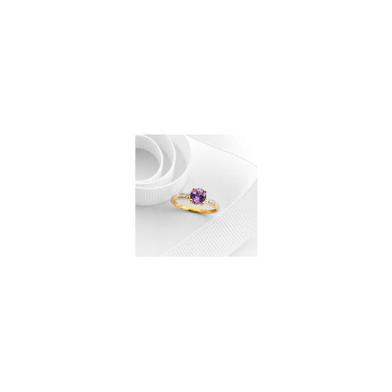 9ct gold amethyst and diamond ring L