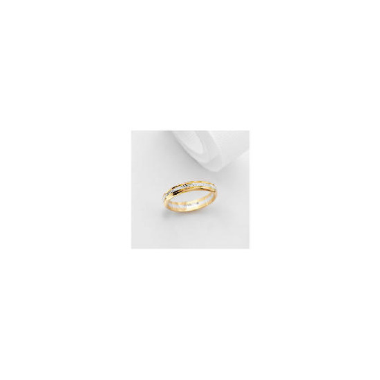 9ct Two Tone Gold Wedding Ring L