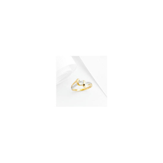 9ct 2 Tone Gold Cubic Zirconia ring, P