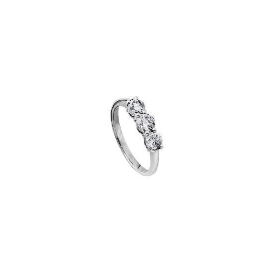 9ct white gold 1 carat diamond 3 stone ring O