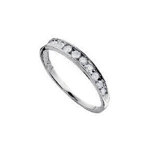 Photo of 9CT White Gold 1/4 Carat Diamond Half Eternity Ring L Jewellery Woman