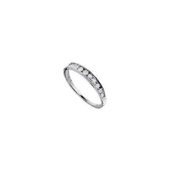 9ct White Gold 1/4 Carat Diamond Half Eternity Ring L