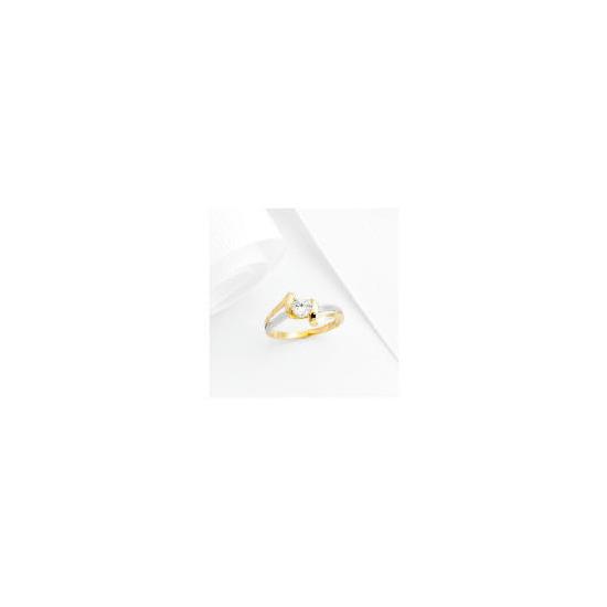 9ct 2 Tone Gold Cubic Zirconia ring, R