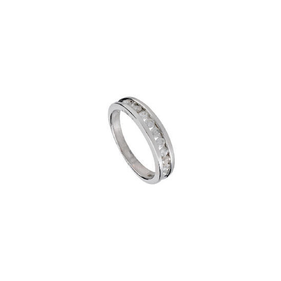 9ct White Gold 1/2 Carat Diamond Eternity Ring, L