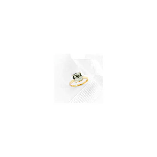 9ct gold green amethyst ring L