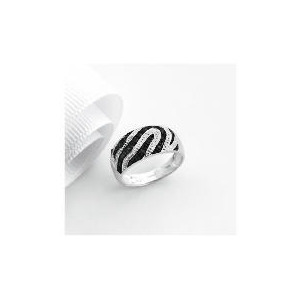 Photo of 9CT White Gold 10POINTs Black and White Diamond Ring Q Jewellery Woman
