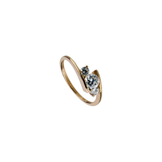9CT Gold Cubic Zirconia Ring L