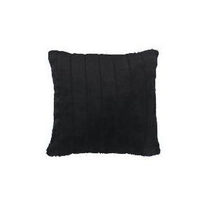 Photo of Ribbed Faux Fur Cushion Black Cushions and Throw