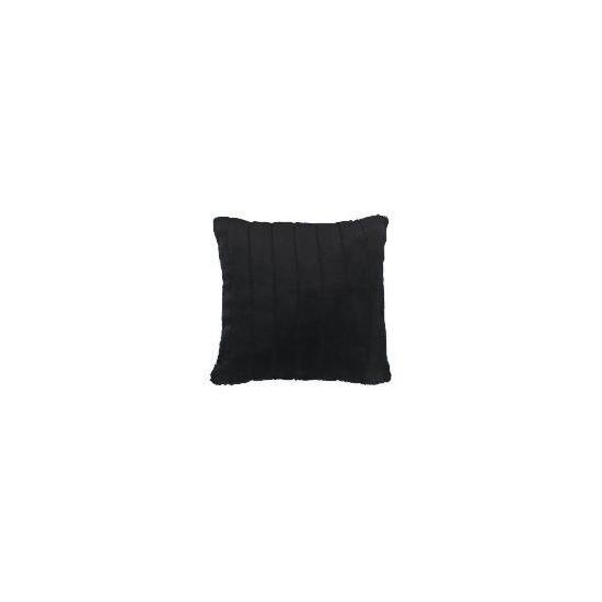 ribbed faux fur cushion black