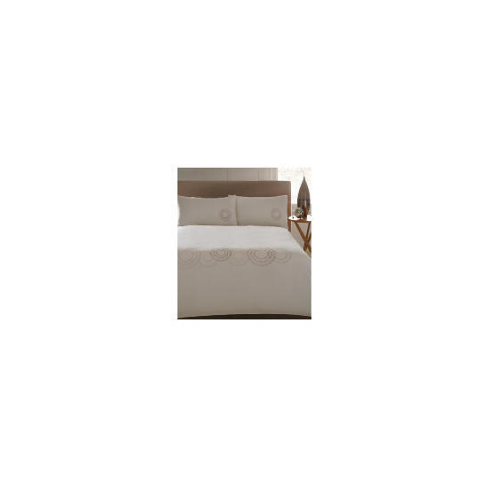 Catherine Lansfield Duvet Set Single Large Circle Embroidered,  Natural