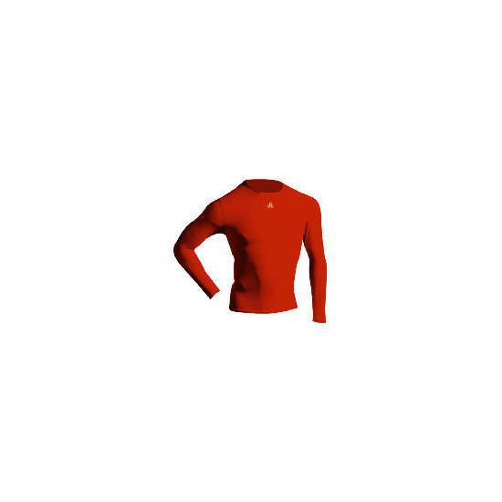 Long Sleeve Bodyshirt Mock Neck RED adult small