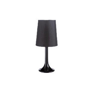 Photo of Shiny Black Table Lamp With Black Faux Silk Shade Lighting