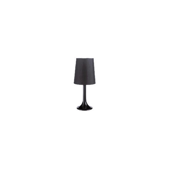 Shiny Black Table Lamp with Black Faux Silk Shade