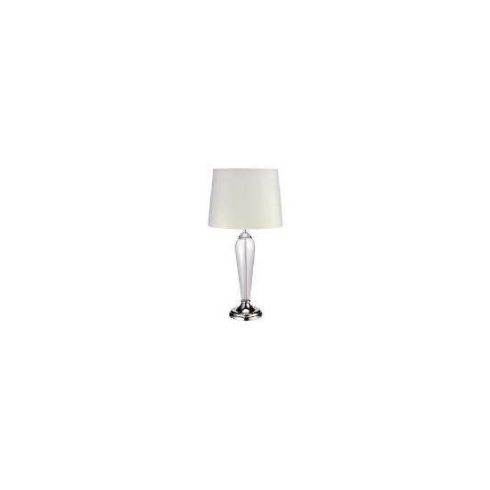Clear Glass & Shiny Nickel Table Lamp with Cream Faux Silk Shade