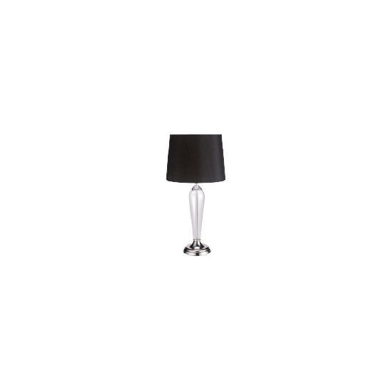 Clear Glass & Shiny Nickel Table Lamp with Black Faux Silk Shade