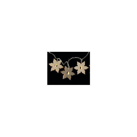Tesco 16 Low Voltage Warm White LED Wooden Snowflake Lights