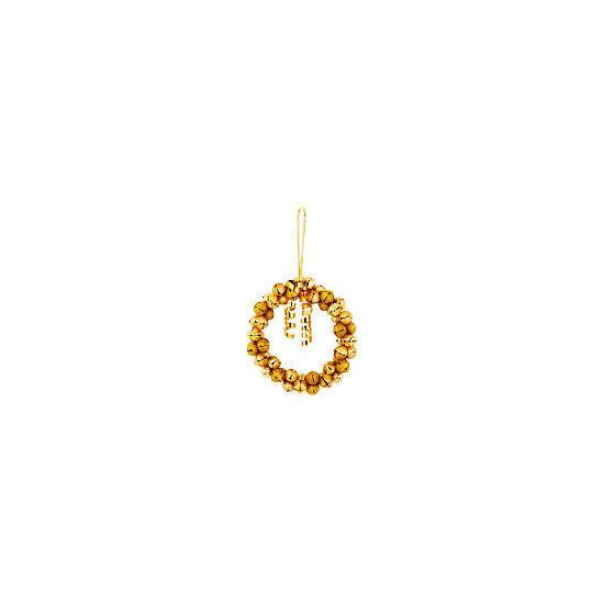 "Tesco 10"" Gold Jingle Bell Wreath"