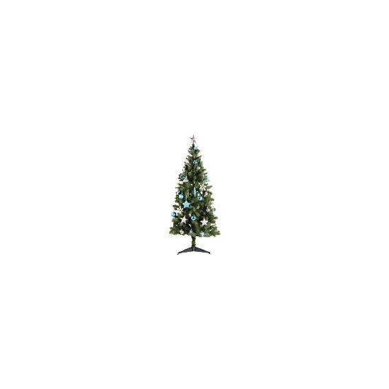 Tesco 6Ft Tree With Blue/ Silver Decorations