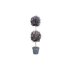 Photo of Tesco 3FT Pre-Lit Silver Topiary Ball Tree Christmas