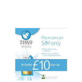Tesco Mobile Pay as you go SIM with £10 top-up included Reviews