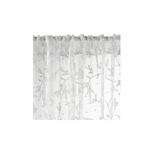 Photo of Flocked Leaf Channel Top Voile, Ivory 137X229CM Curtain