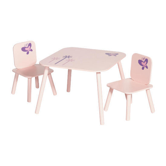 Crayon Table and 2 Chair Set Pink