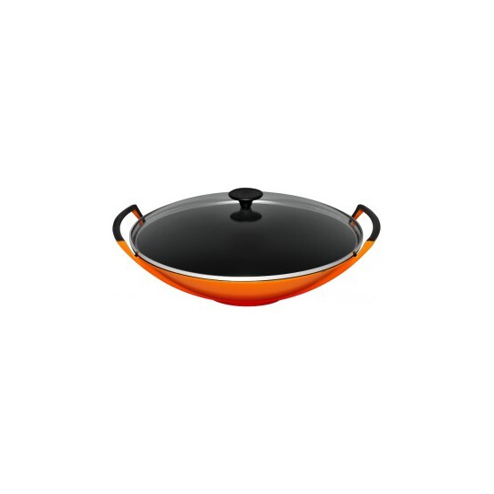 Le Creuset Cast Iron 36cm Wok and Glass Lid - Volcanic