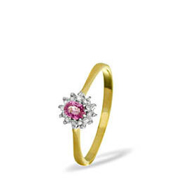 9KY DIAMOND PINK SAPPHIRE RING 0.06CT Reviews