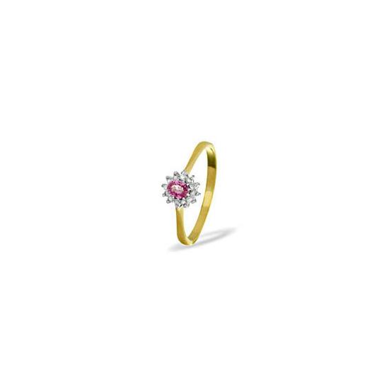 9KY DIAMOND PINK SAPPHIRE RING 0.06CT