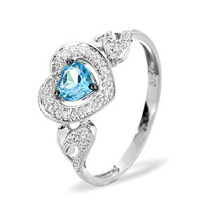 Photo of 9KW DIAMOND BLUE TOPAZ RING 0.06CT Jewellery Woman