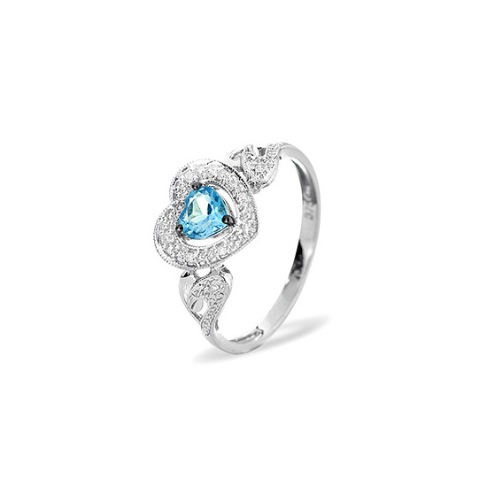 9KW DIAMOND BLUE TOPAZ RING 0.06CT