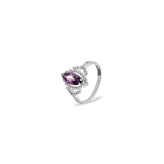 9kw Diamond Amethyst Ring 0.14ct