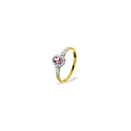 9KY DIAMOND PINK SAPPHIRE RING 0.14CT