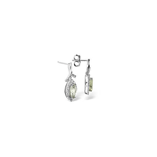 9kw Diamond Aqua Marine Earrings 0.14ct