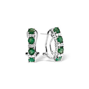 Photo of 9KW DIAMOND EMERALD EARRINGS 0.16CT Jewellery Woman