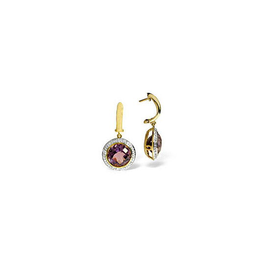 9KY DIAMOND AMETHYST EARRINGS 0.18CT