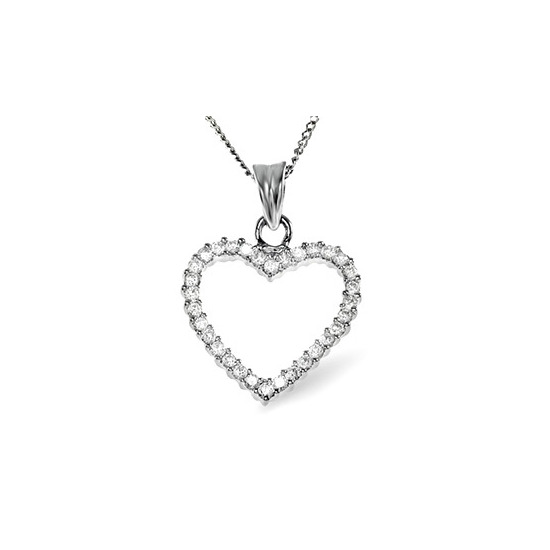 18K WHITE GOLD DIAMOND PENDANT 0.36CT