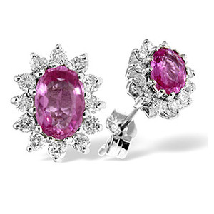 Photo of 9K White Gold Diamond & Pink Sapphire Earrings 0.36CT Jewellery Woman