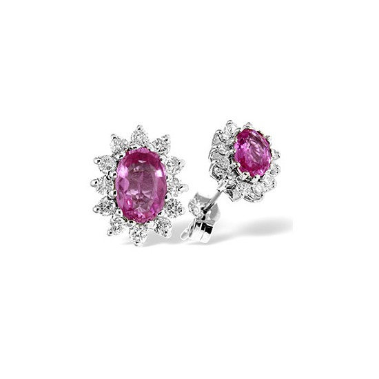 9K White Gold Diamond & Pink Sapphire Earrings 0.36CT